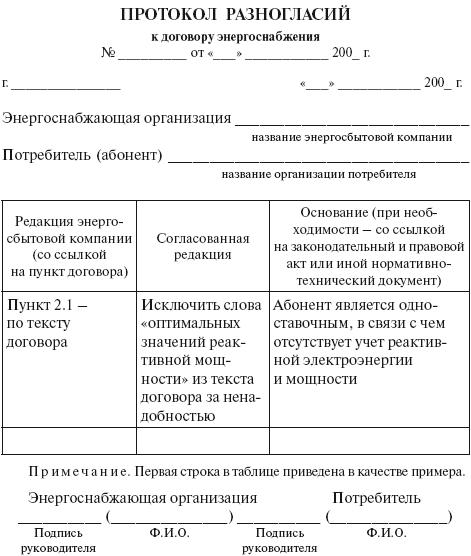 образец договора на энергоснабжение