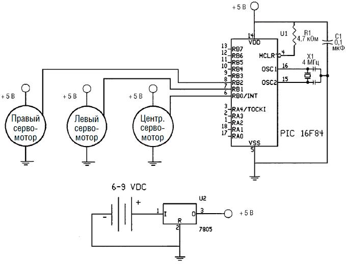 Схема микроконтроллера собрана