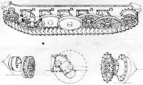 Схема ходовой части танка Е-25